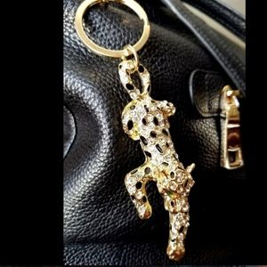 Accessories - Leopard Key Chain Ring Purse Charm Rhinestones 6""
